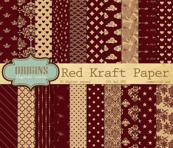 Red Kraft Digital Paper Textures