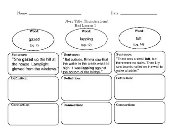 Red LLI Vocabulary Sheet Lesson 1