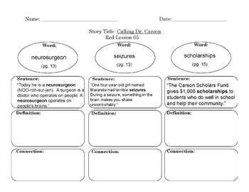 Red LLI Vocabulary Sheets Bundle Levels L-Q