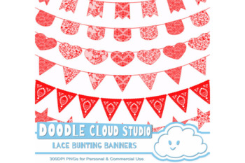 Red Lace Burlap Bunting Banners Cliparts, multiple lace texture flags.