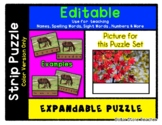 Red Leaves - Autumn - Expandable & Editable Strip Puzzle w