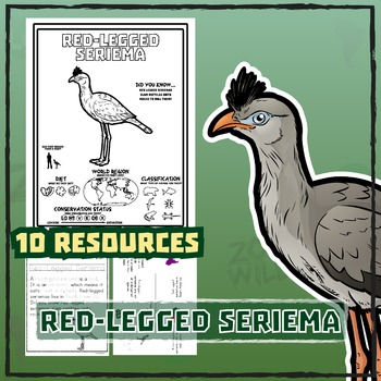 Red-Legged Seriema -- 10 Resources -- Coloring Pages, Reading & Activities