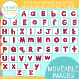 Red Letter on White Tile Clip Art {MOVEABLE IMAGES}
