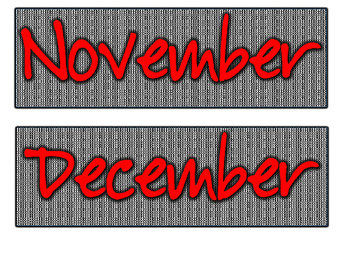 Red Letters Black/White Gingham Days of the Week and Months of the Year