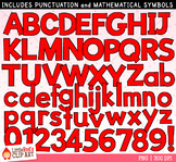 Red Letters and Numbers Clip Art
