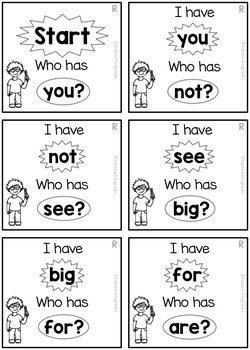 New Zealand Sight Words - Red Level Sight Word Game - I have Who Has