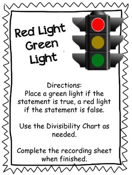 Red Light, Green Light A Divisibility Math Game