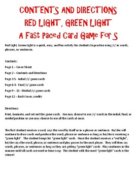 Red Light, Green Light - A Fast-Paced Activity for Articulation - S