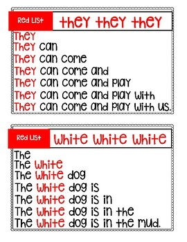 Red List Sight Word Pyramid Sentences