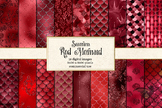 Red Mermaid Scales digital paper, seamless pattern backgrounds