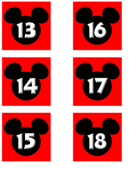 Red Mickey Date Cards for Calendar