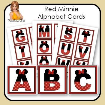 Red Minnie Alphabet Cards
