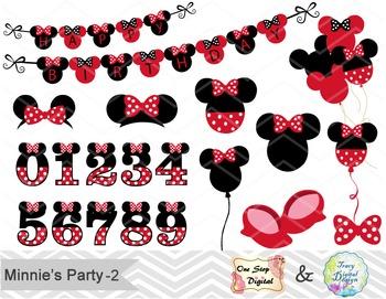 Red Minnie Digital Clip Art Red Minnie Birthday Party Clip Art, 00176