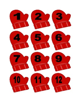 Red Mitten Numbers for Calendar or Counting Activity