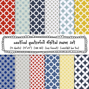 Red, Navy Blue and Yellow Quatrefoil Digital Backgrounds, Nautical Digital Paper
