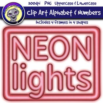 Red Neon Lights Clip Art Alphabet Letters & Frames