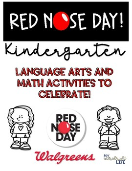 Red Nose Day- Kinder ELA and Math activities