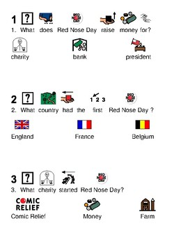 Red Nose Day - picture supported text lesson visuals questions
