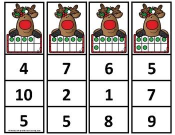 Red Nose Reindeer Ten Frames 0-10 Clip Cards