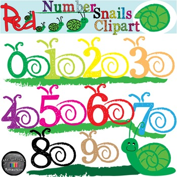 Red Number Clipart Snails