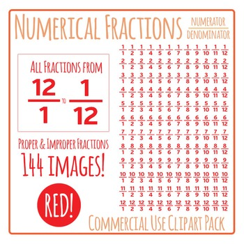 Red Numerical Fractions - Numerator and Denominator Commercial Use Clip Art