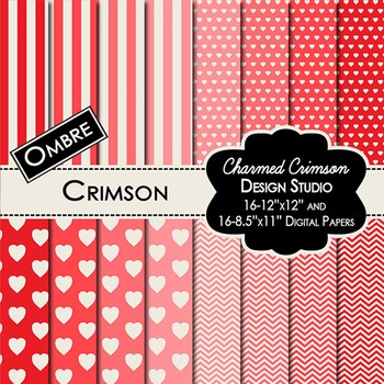 Red Ombre Digital Paper 1052