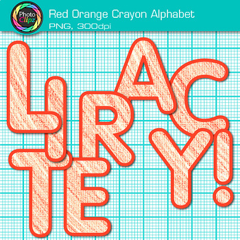 Red-Orange Crayon Alphabet Clip Art {Great for Classroom Decor & Resources}