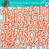 Red-Orange Crayon Alphabet Clip Art {Great for Classroom Decor & Resources}