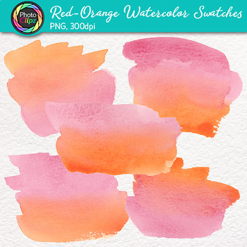 Red-Orange Watercolor Swatches Clip Art {Hand-Painted Textures for Backgrounds}
