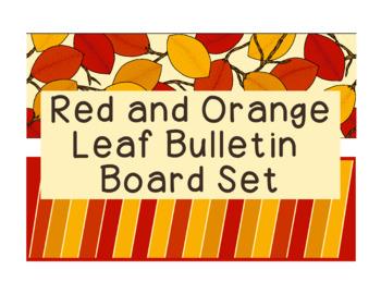 Red Orange Leaf Leaves Bulletin Board Border Set PDF Gold Yellow