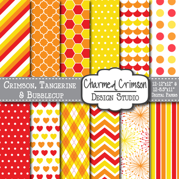 Red Orange and Yellow Geometric Digital Paper 1034