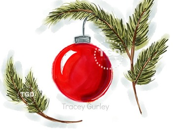 Red Ornament with pine branches, Printable Tracey Gurley Designs