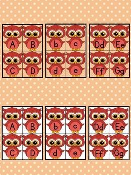 Red Owl Alphabet Letter Flashcards