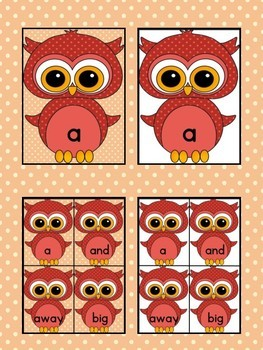 Red Owl  Dolch Pre-Primer High Frequency Sight Word Flashcards and Posters