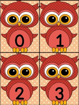 Red Owl Math Number Flashcards 0-100