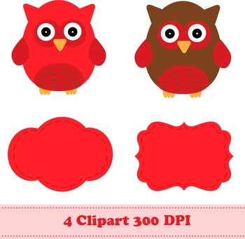 Red Owls Digital Paper + Clipart