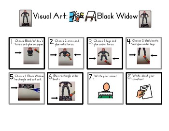 Red Pants Writing: Black Widow Visual Art Sequence & Worksheets