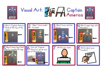 Red Pants Writing: Captain America Visual Art Sequence & Worksheets