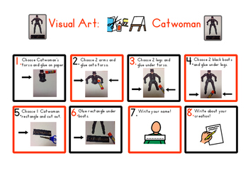 Red Pants Writing: Catwoman Visual Art Sequence & Worksheets