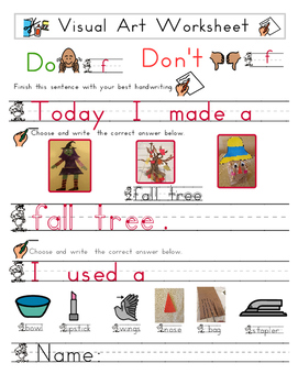 Red Pants Writing: Fall Tree Visual Art Sequence & Worksheets