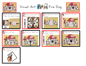 Red Pants Writing: Fire Dog Visual Art Sequence & Worksheets