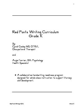 Red Pants Writing Grade: K Curriculum