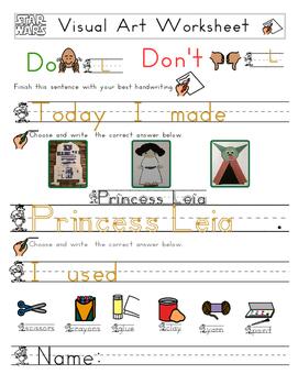 Red Pants Writing: Princess Leia Visual Art Sequence & Worksheets