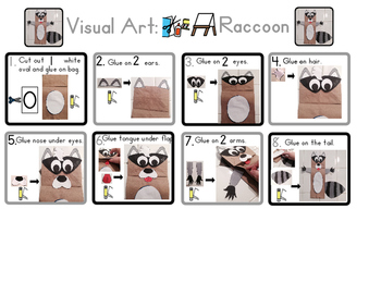 Red Pants Writing: Raccoon Puppet Visual Art Sequence & Worksheets