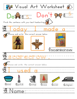 Red Pants Writing: Scarecrow Bag Visual Art Sequence & Worksheets