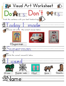 Red Pants Writing: Superman Visual Art Sequence & Worksheets