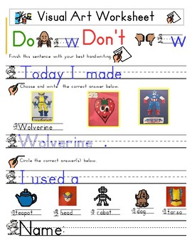 Red Pants Writing: Wolverine Visual Art Sequence & Worksheets