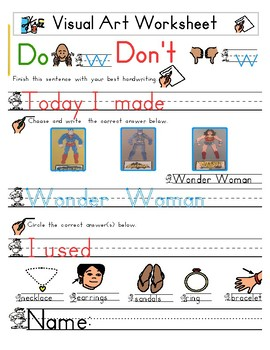 Red Pants Writing: Wonder Woman Visual Art Sequence & Worksheets