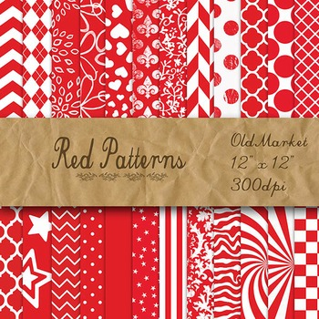 Red Pattern Designs - Digital Paper Pack - 24 Different Papers - 12 x 12