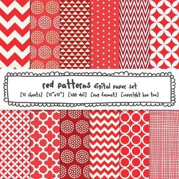 Red Patterns Digital Backgrounds, Red Digital Paper for Tp